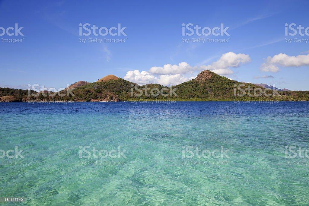 Turquoise water in Coron island, Philippines stock photo