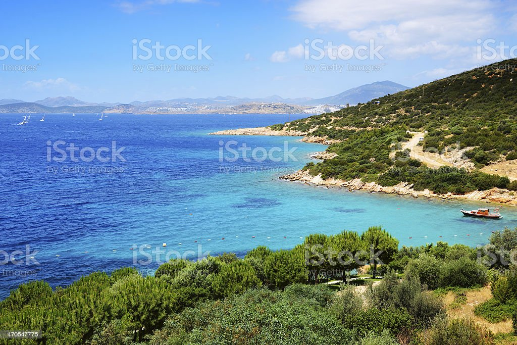 Turquoise water near beach on Turkish resort stock photo