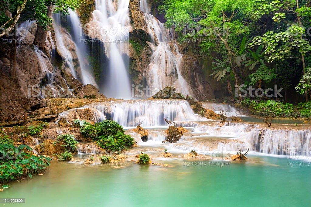 Turquoise water of Kuang Si waterfall, Luang Prabang. Laos stock photo