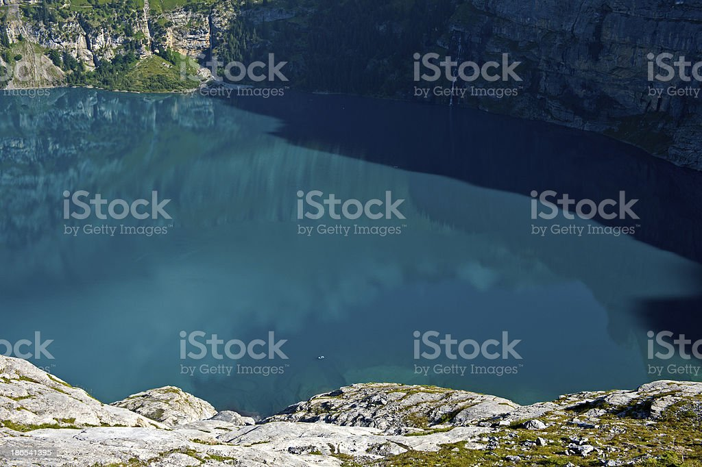 turquoise water of Lake Oeschinenensee royalty-free stock photo