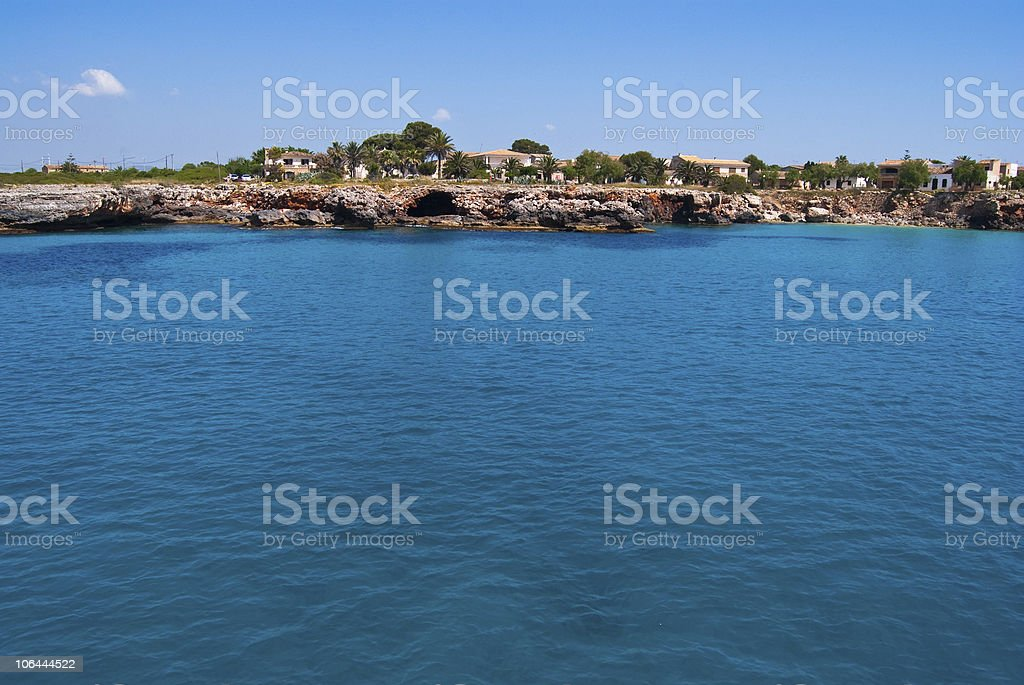 Turquoise waters of Mediterranean Sea at Cala  Mendia, Majorca stock photo