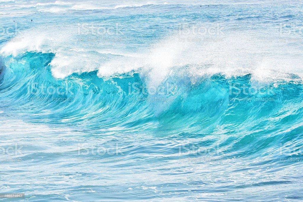 turquoise waves at Sandy Beach, Hawaii stock photo