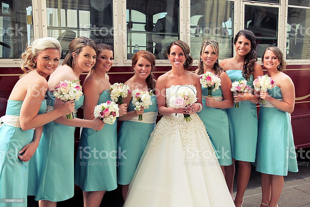Turquoise Wedding Portraits stock photo