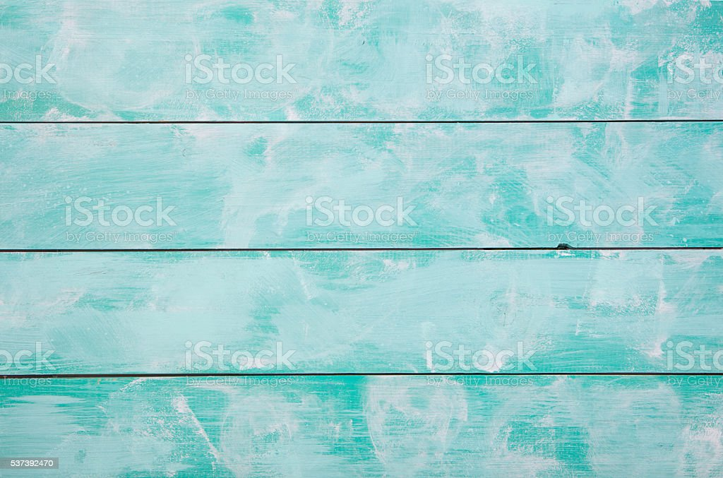 Turquoise wooden background with high resolution. Top view Copy space. stock photo
