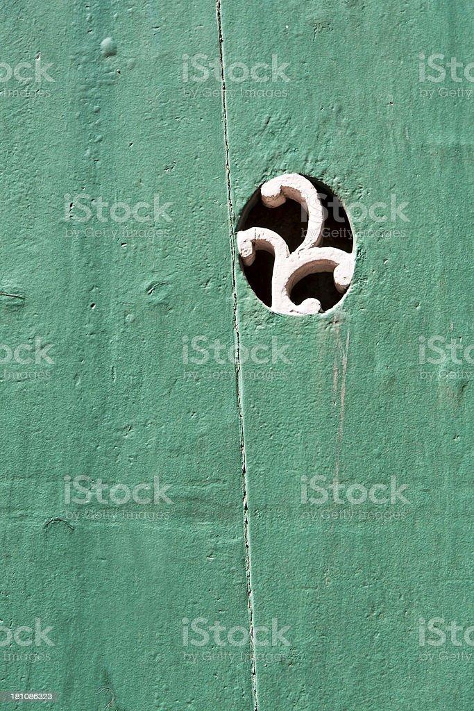 Turquoise-green Door stock photo