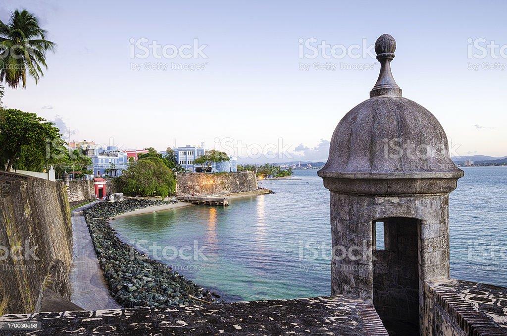 Turret along Old San Juan Wall in Puerto Rico stock photo