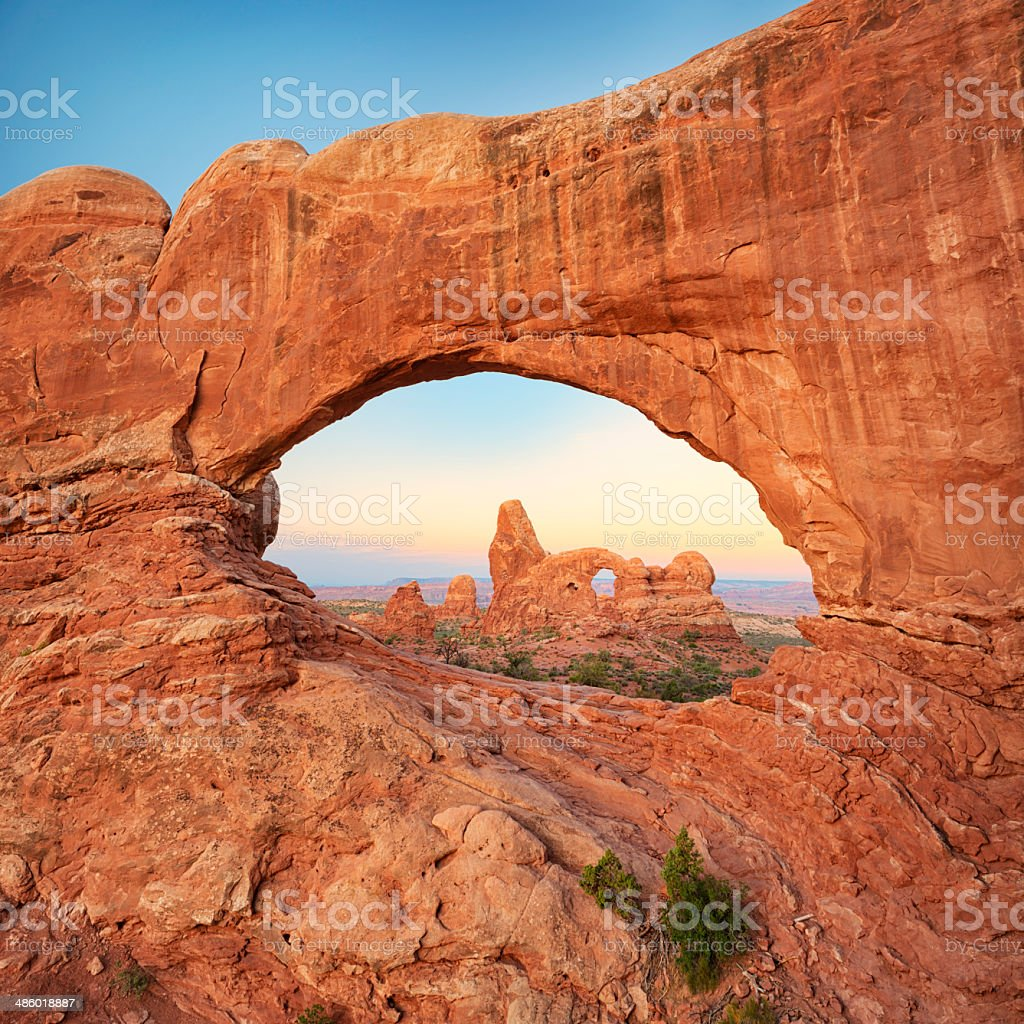Turret Arch seen through the North Window, Arches National Park stock photo