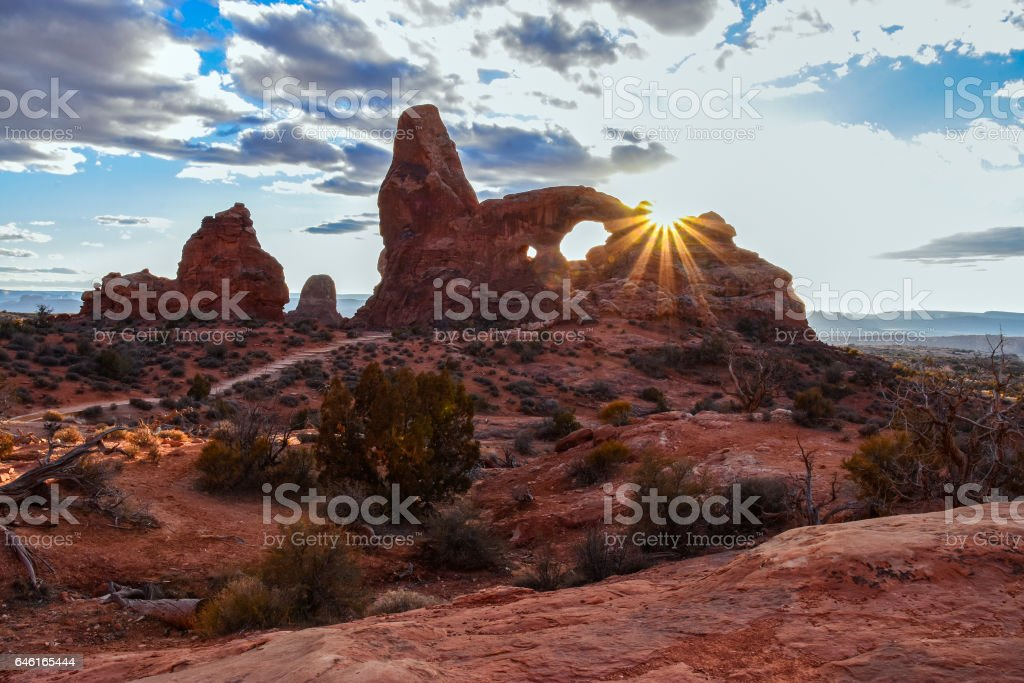 Turret Arch Sunset stock photo
