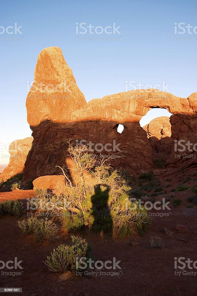 Turret Arch with Photographers Shadow stock photo