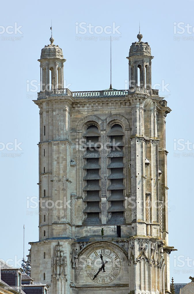 Turret Gothic facade of the church stock photo
