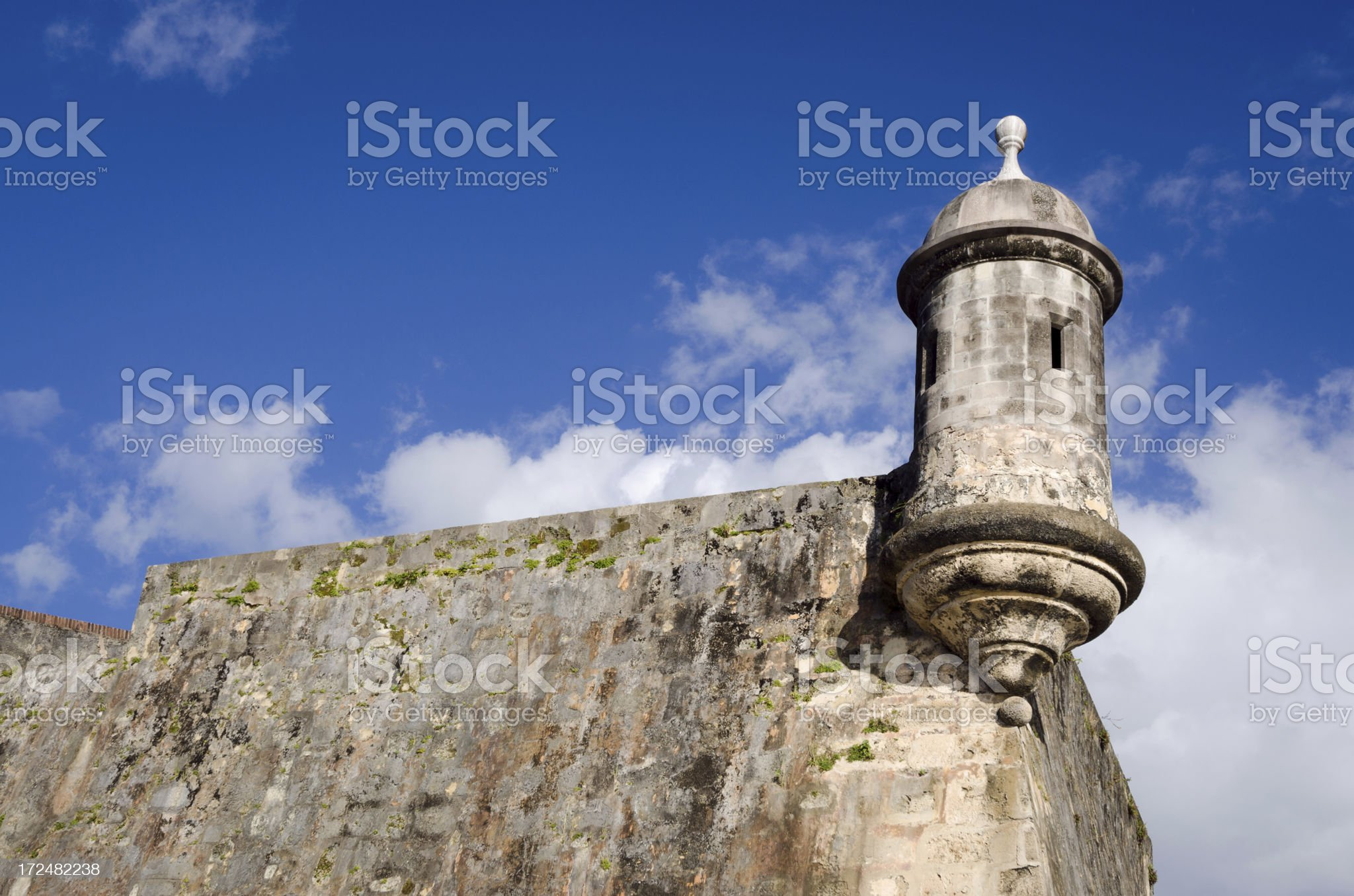 Turret lookout at Old San Juan Wall in Puerto Rico royalty-free stock photo