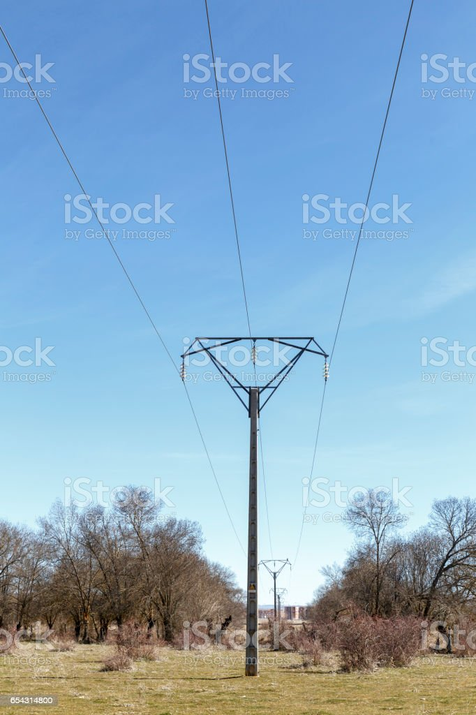 turret with power lines stock photo