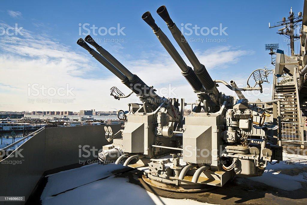 Turrets on navy battle ship stock photo