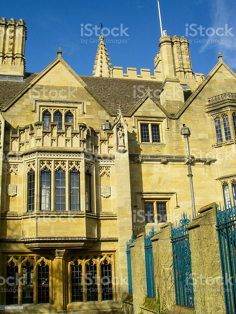 Turrets Towers and Gothic Windows Oxford University England stock photo