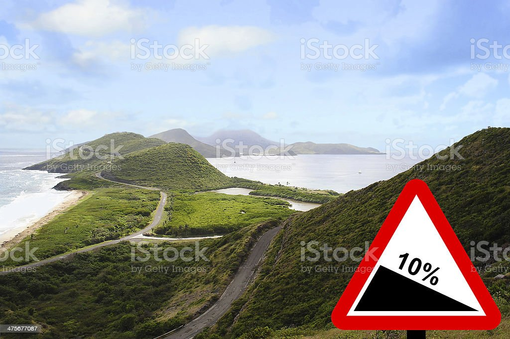 Turtle Bay Steep hill downwards stock photo