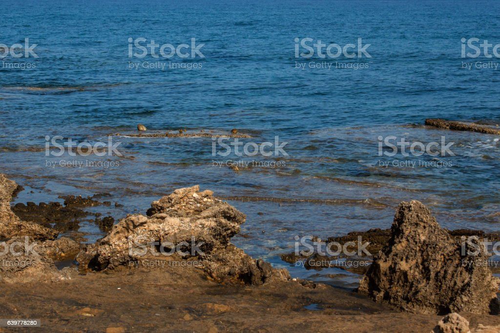 Turtle Beach Alagadi in the Mediterranean. stock photo