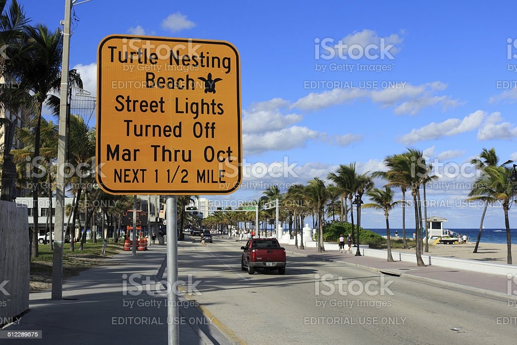 Turtle Nesting Sign stock photo