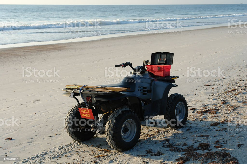 Turtle Patrol ATV On Florida Beach stock photo