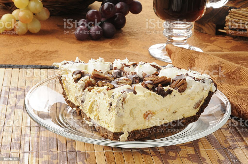 Turtle pie with coffee stock photo