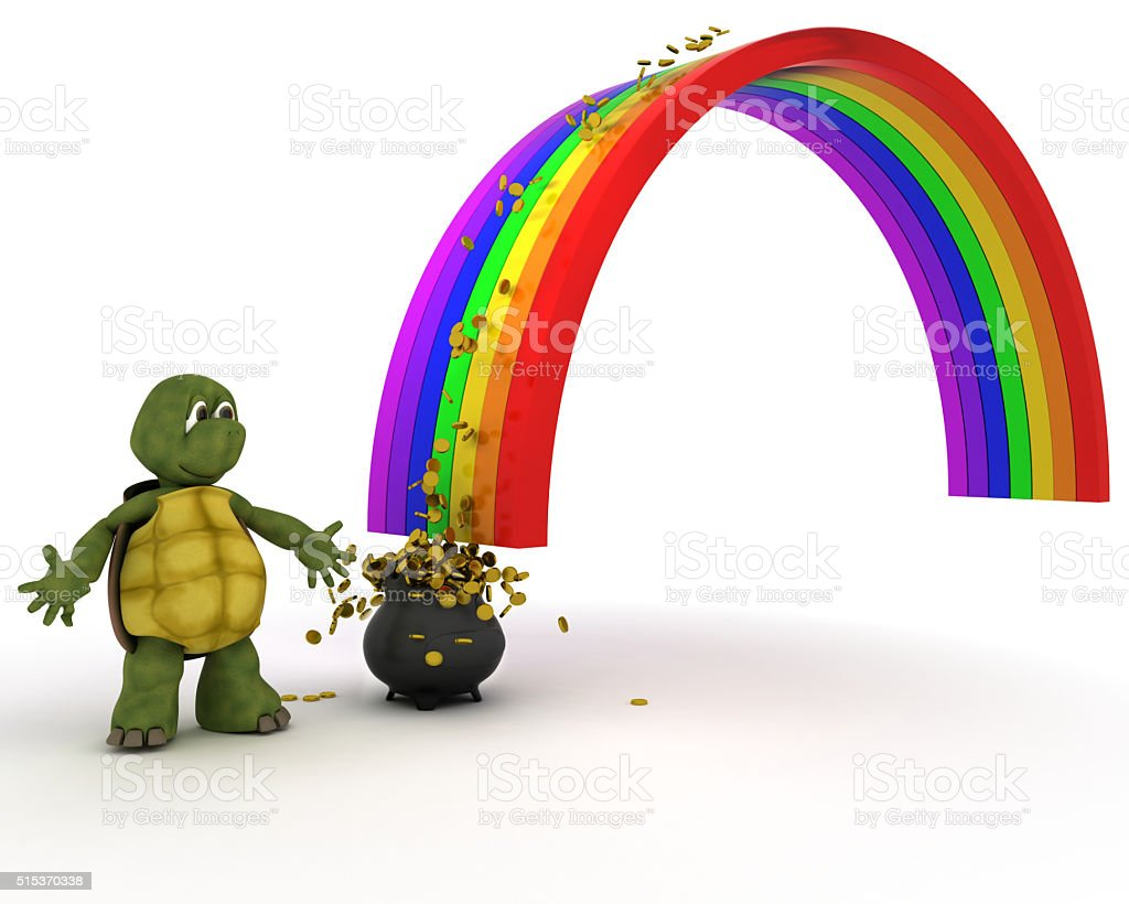 turtle pot of gold at the end of the rainbow stock photo