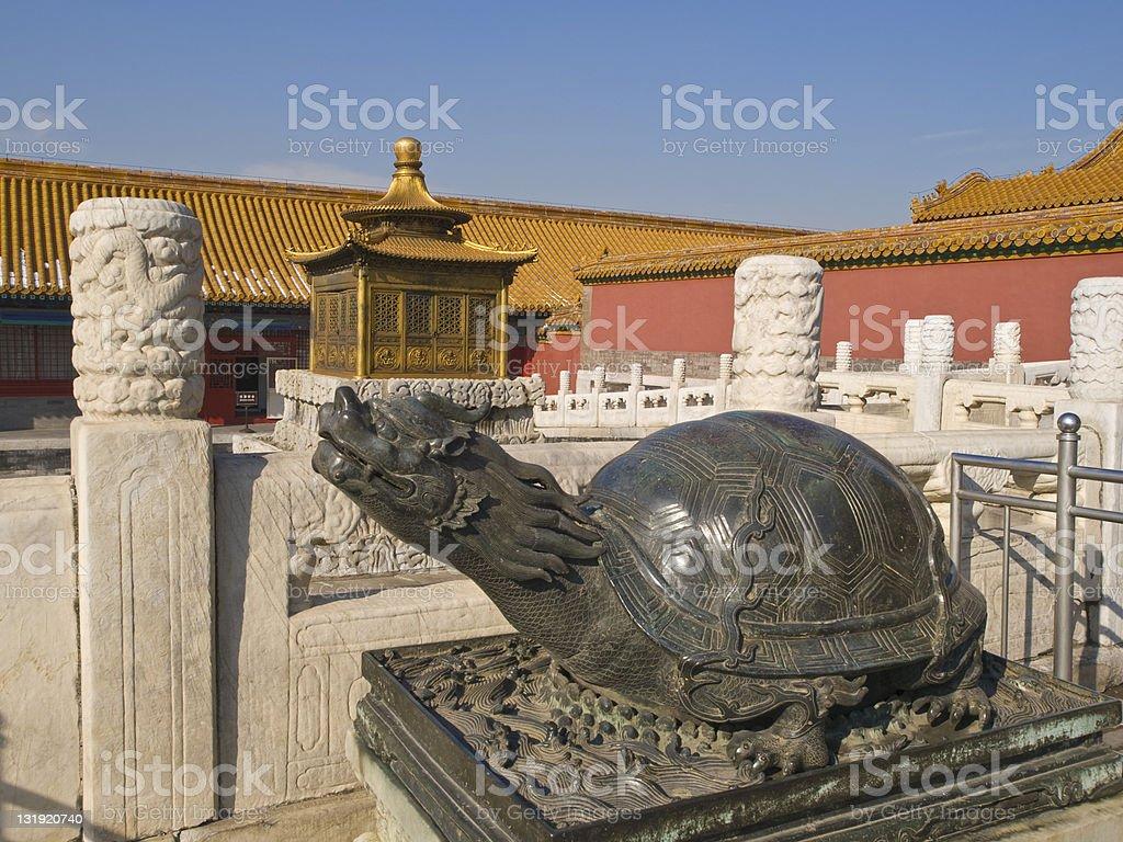 Turtle  sculpture in Forbidden city stock photo