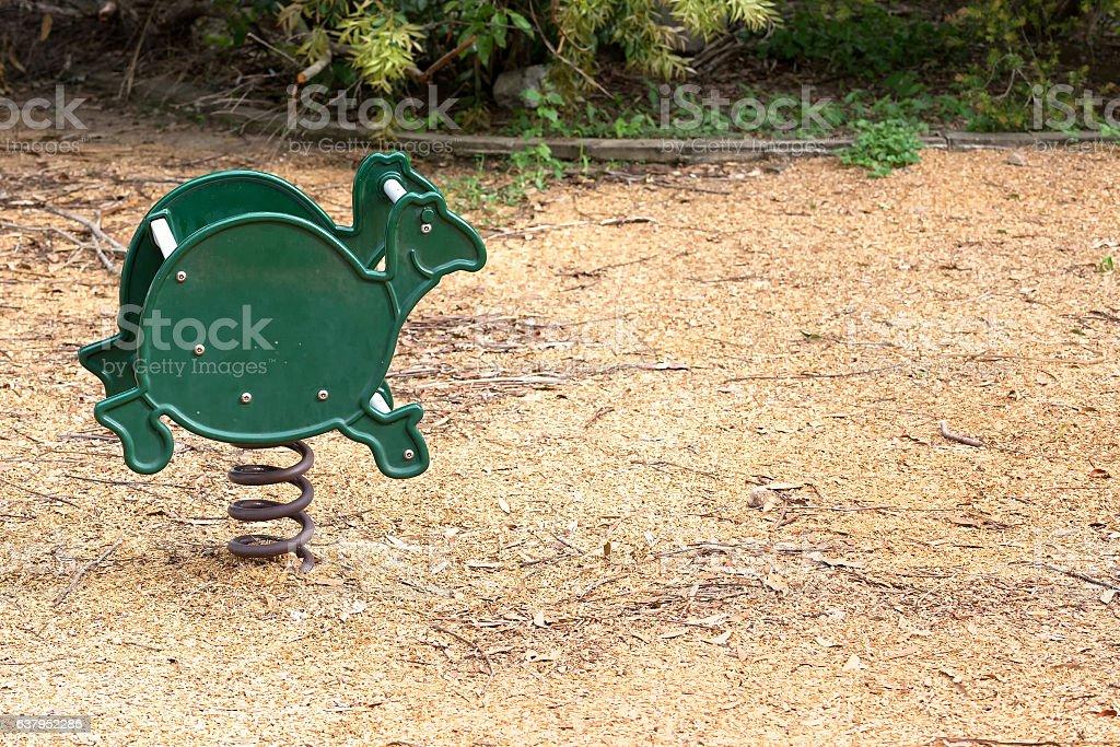 Turtle shaped playground equipment stock photo
