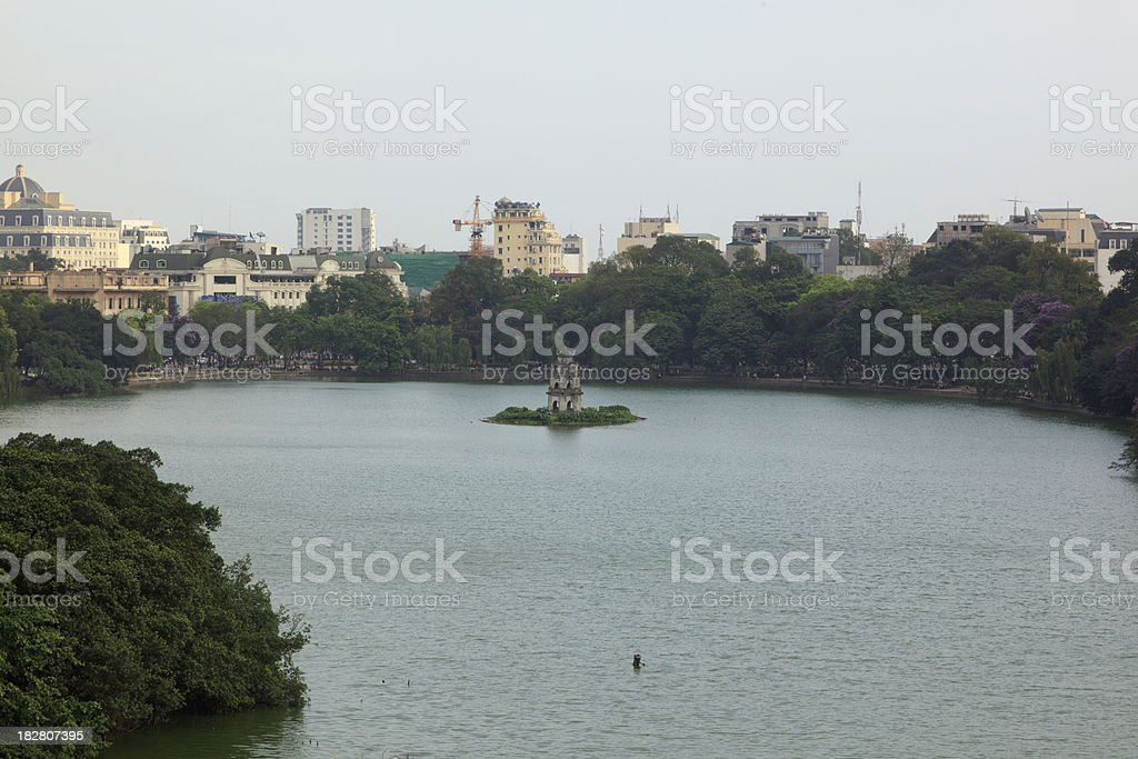 Turtle Tower in Hoan Kiem Lake Vietnam stock photo
