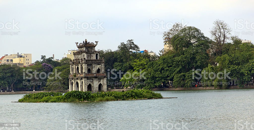 Turtle Tower in Sword Lake Hanoi stock photo