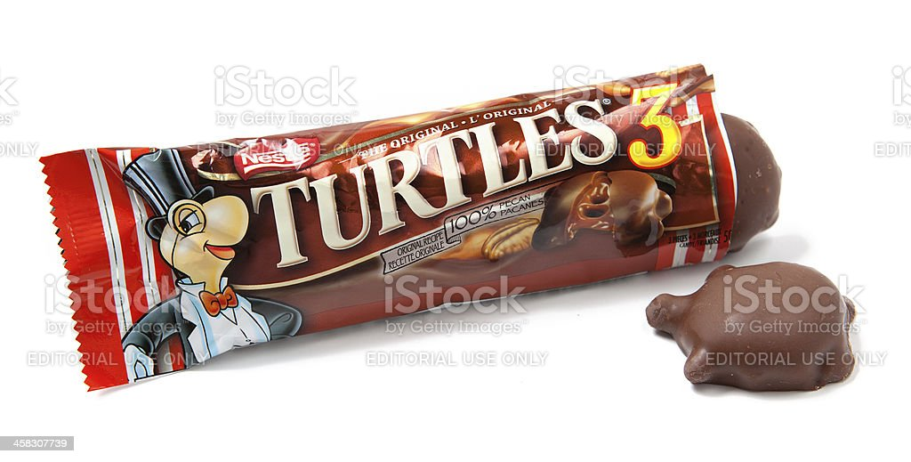 Turtles Chocolate Pecan Candies Unwrapped stock photo