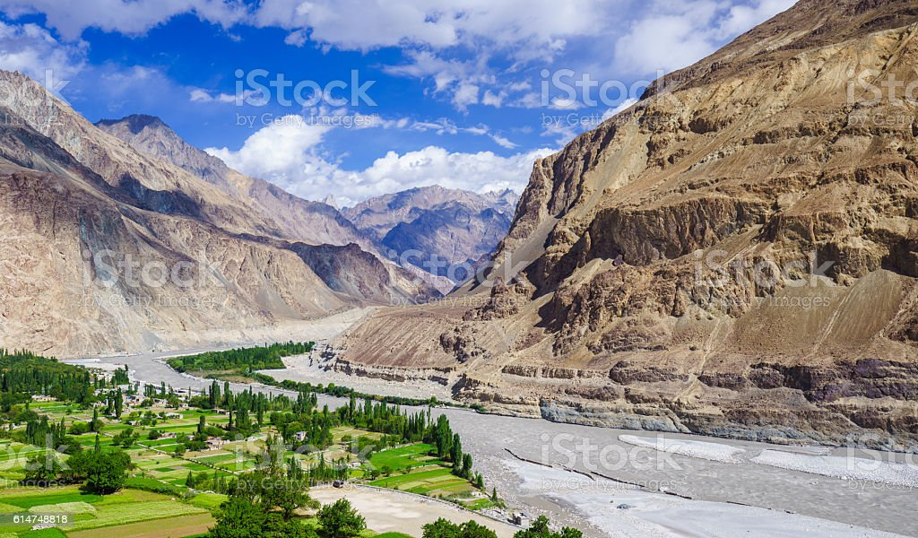 Turtuk village, Diskit, Jammu and Kashmir, In stock photo