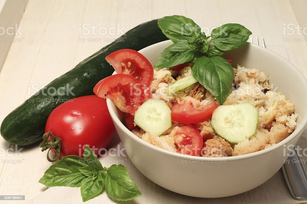 Tuscan and Italian typical food: Panzanella (bread salad) royalty-free stock photo