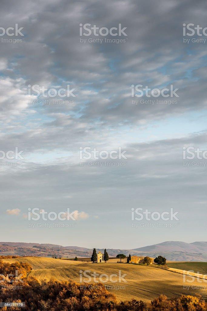tuscan autumn landscape stock photo