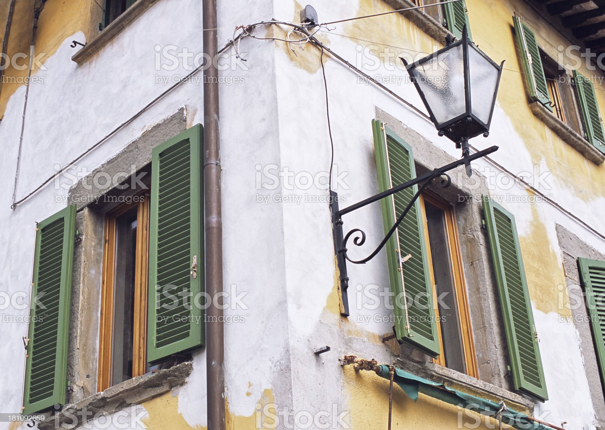 Tuscan building in need of refurbishment of the facade royalty-free stock photo