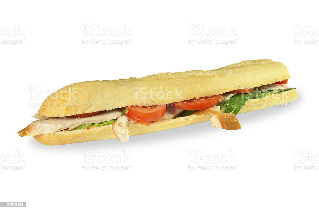 Tuscan chicken baguette. stock photo