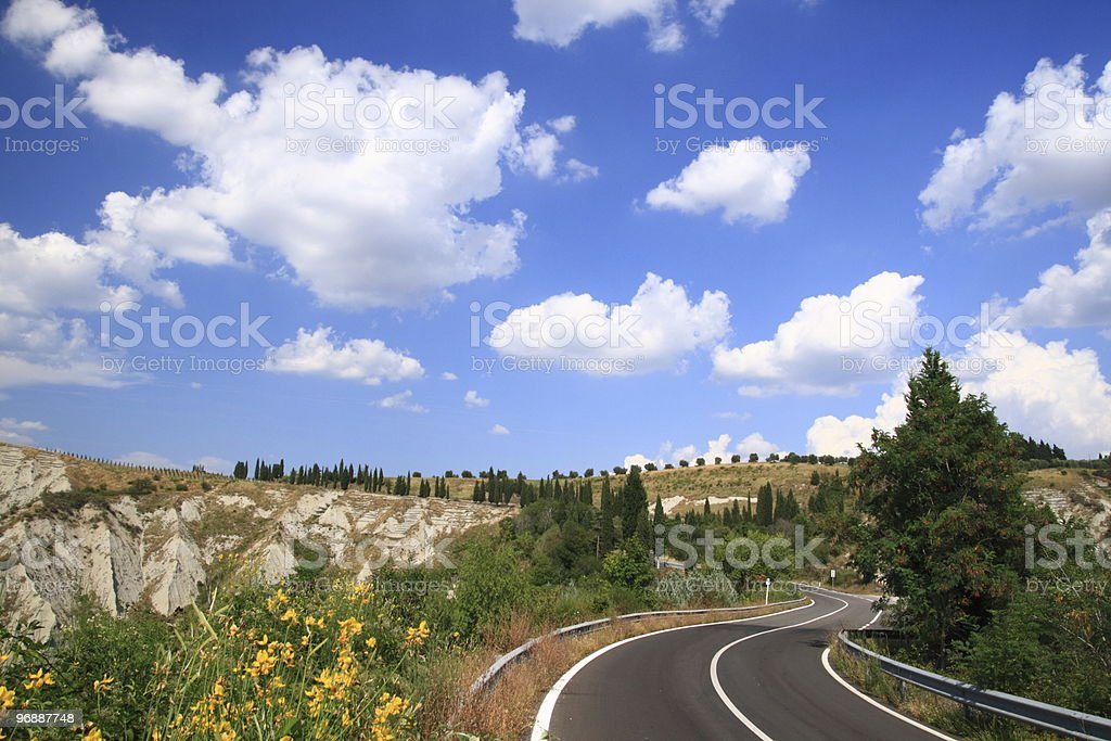 Tuscan Country Road (Italy) royalty-free stock photo