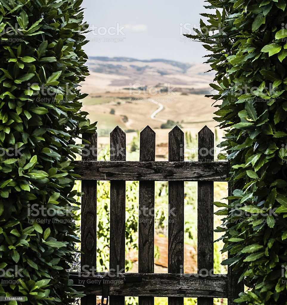 Tuscan Country Seen Through a Wooden Gate royalty-free stock photo