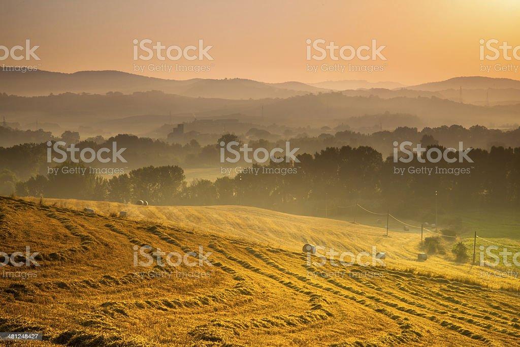 Tuscan Countryside at Dawn, Italy royalty-free stock photo