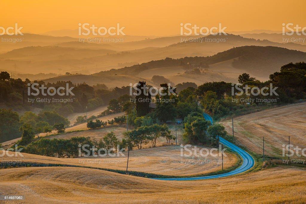 Tuscan Countryside in Guardistallo stock photo