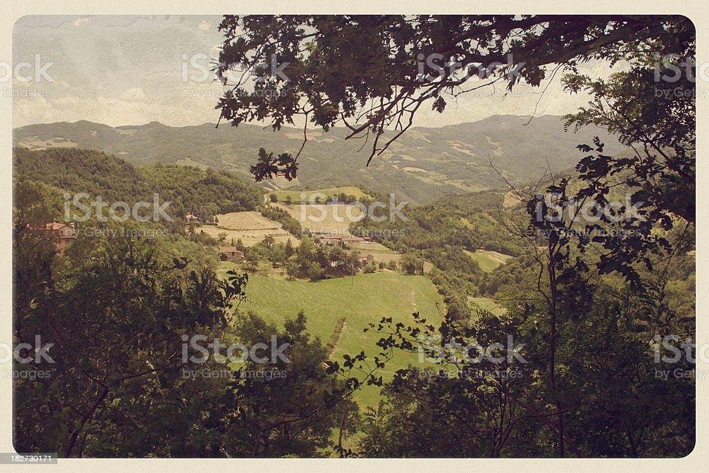 Tuscan Countryside - Vintage Postcard stock photo