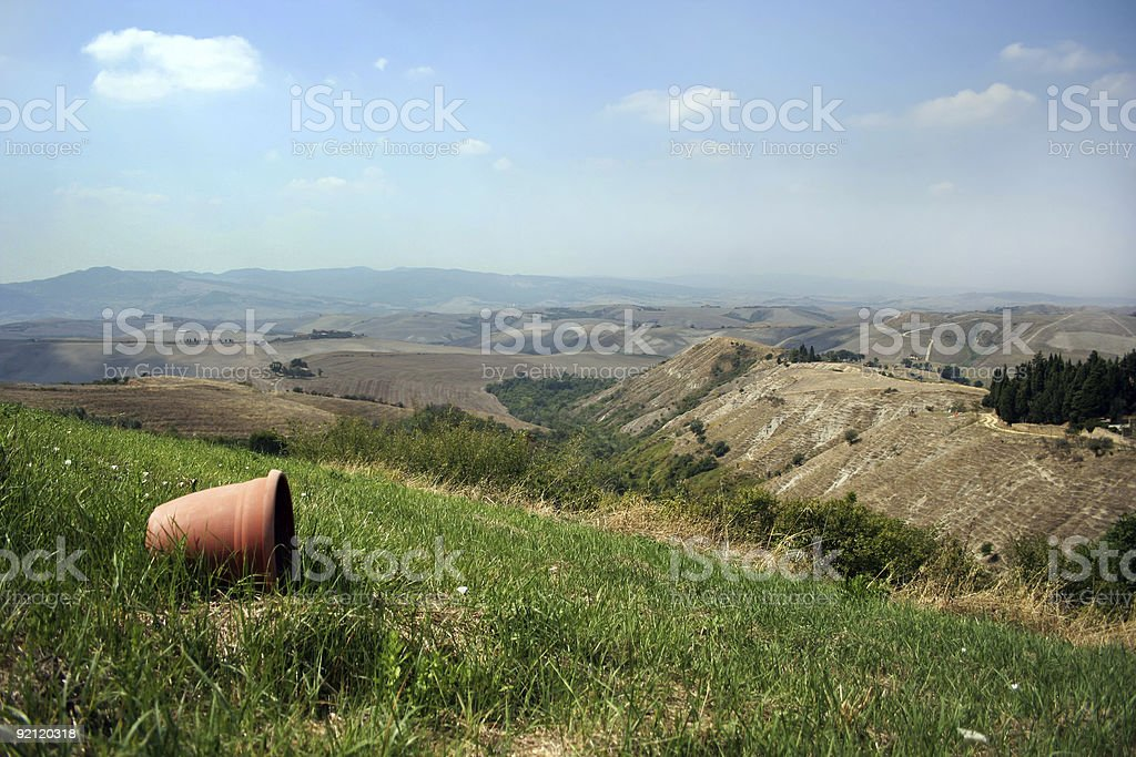 Tuscan Countryside with Pot stock photo