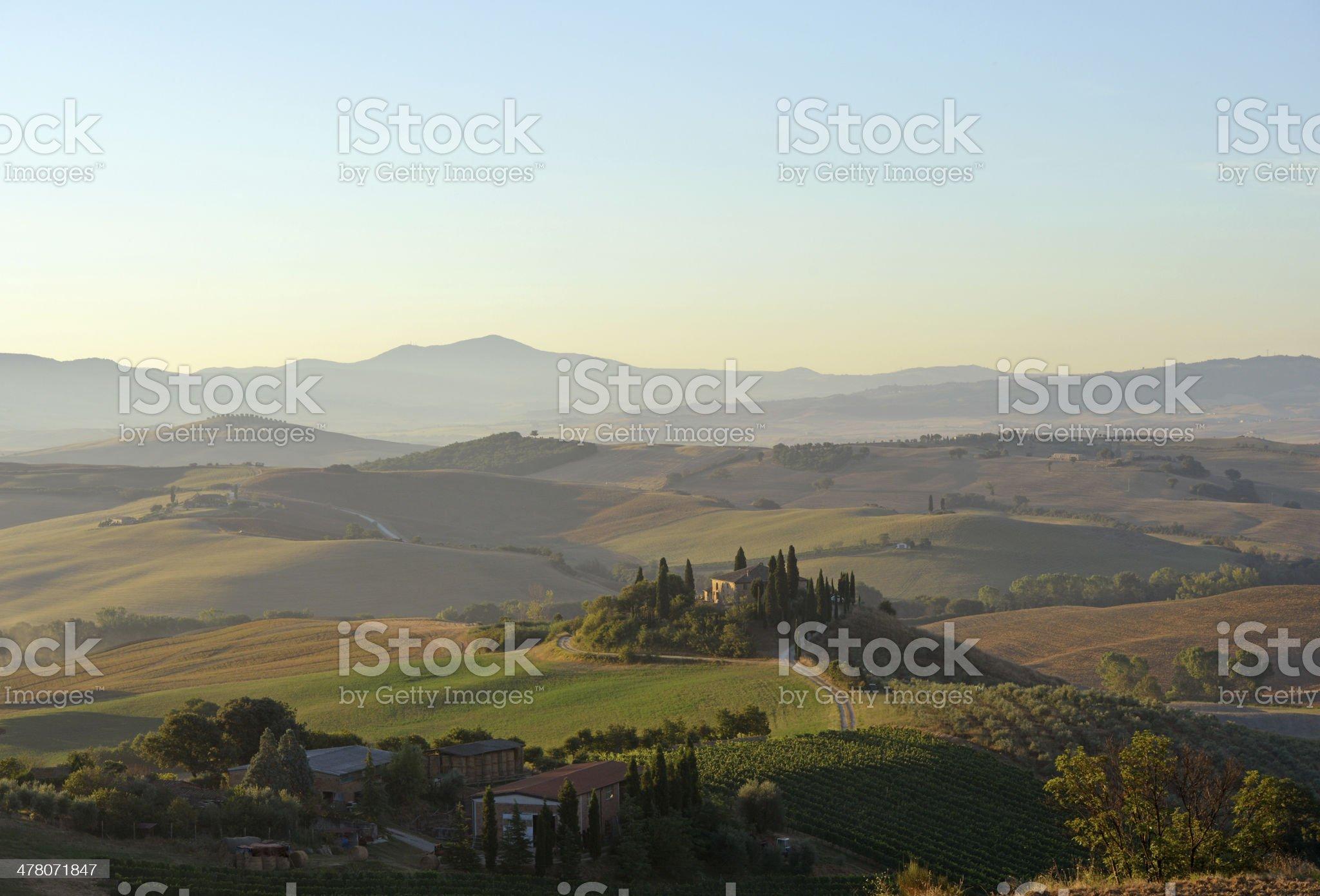 Tuscan Farmhouse at dawn royalty-free stock photo