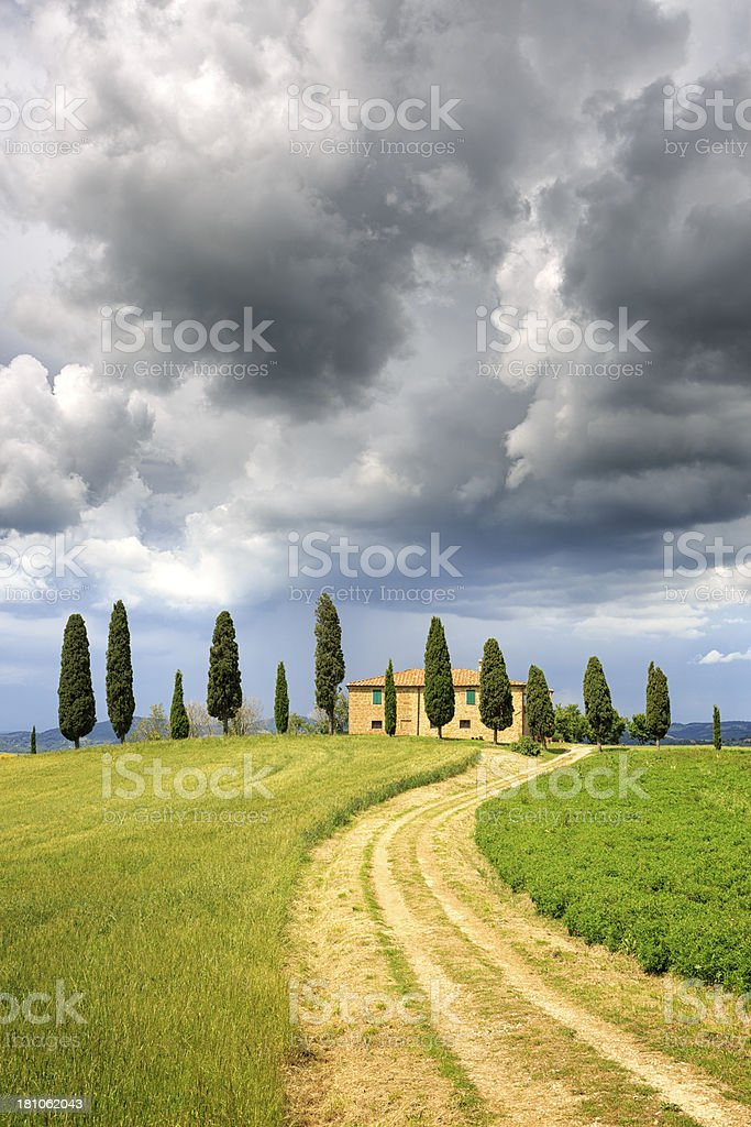 Tuscan Farmhouse with pine trees on a hill stock photo
