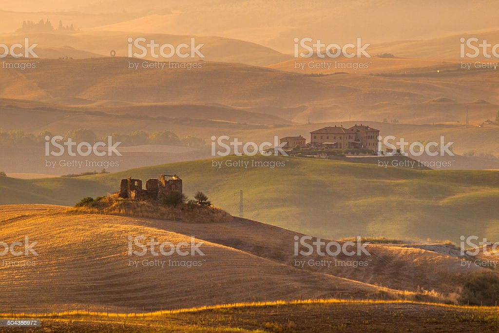 Tuscan Farmland with Villas and Villages stock photo