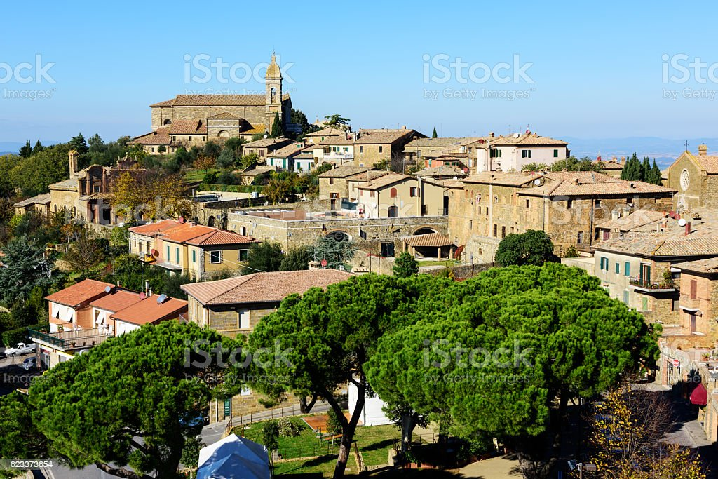 Tuscan hill town of Montalcino, Italy stock photo