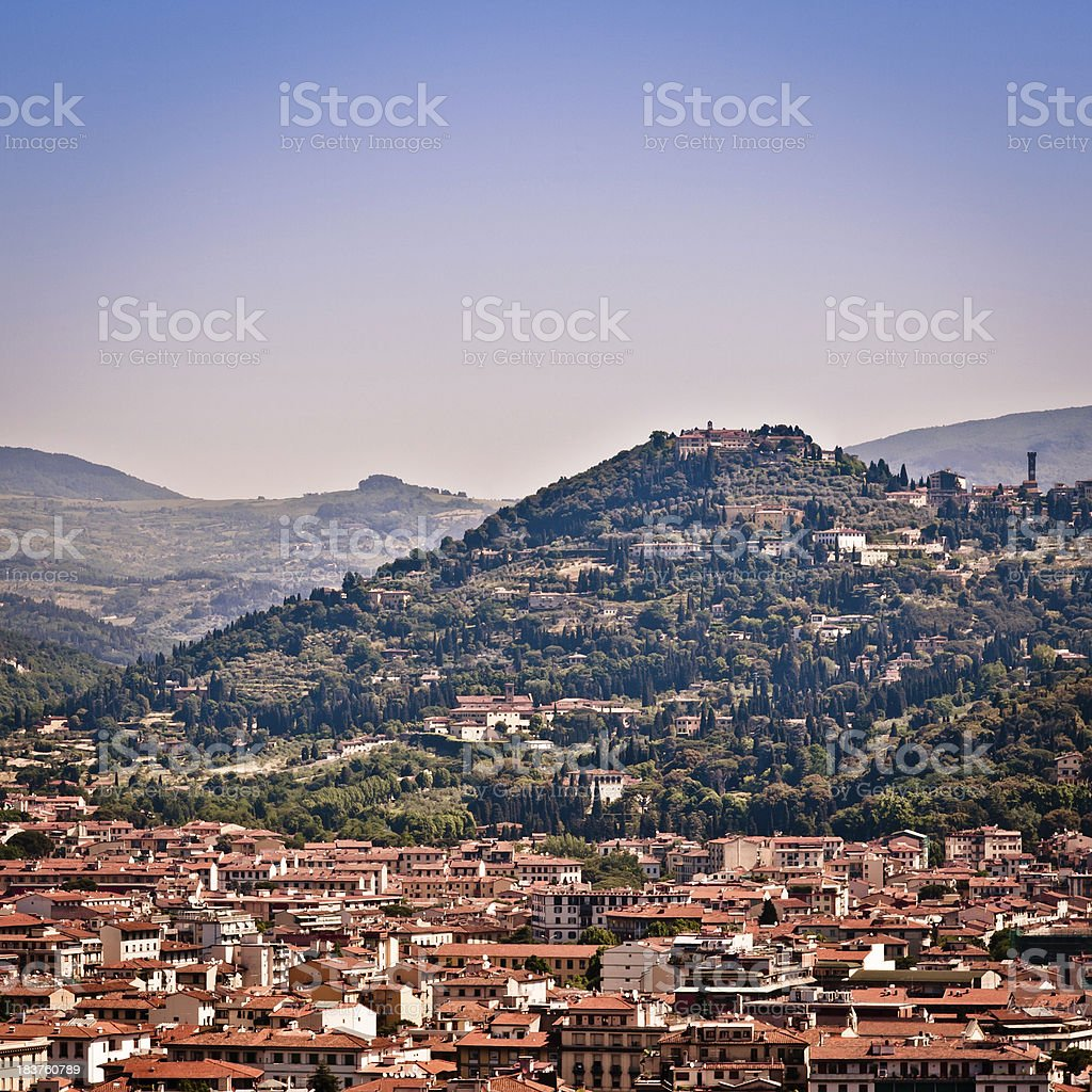 Tuscan Hills around the City of Firenze in Italy stock photo