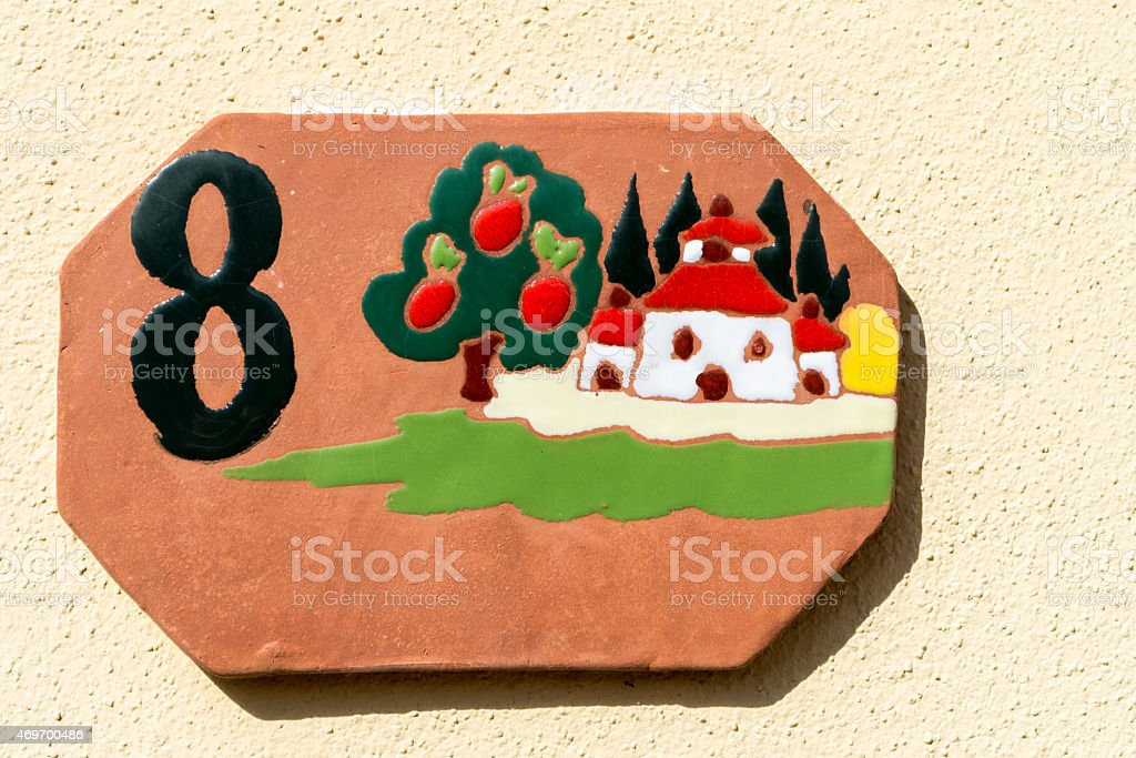Tuscan Home Number stock photo