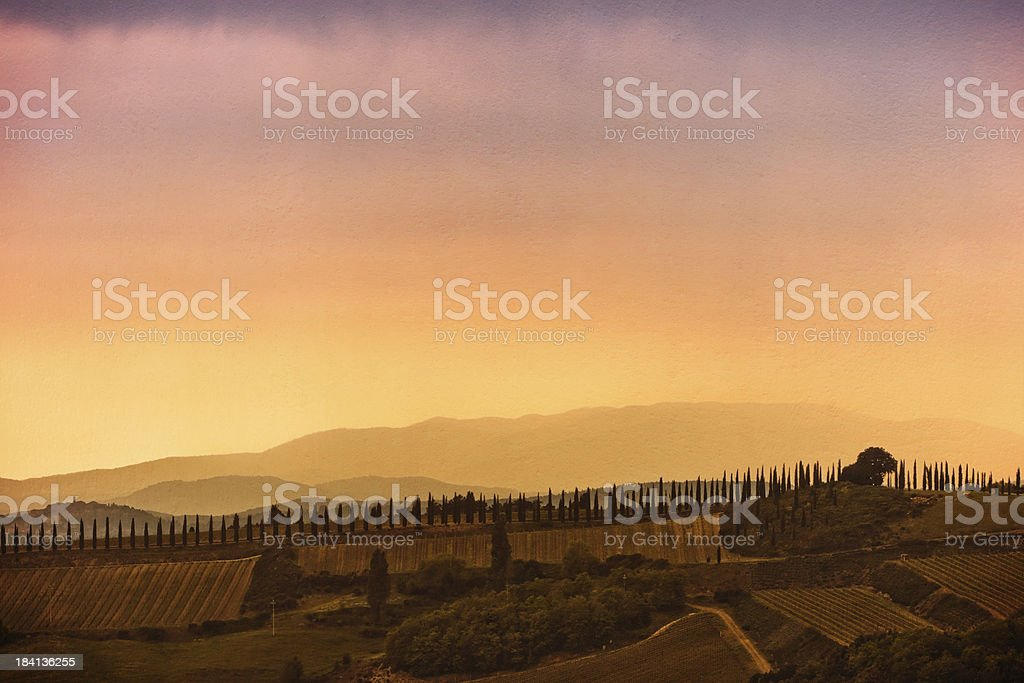 Tuscan Landscape at Sunset, Grunge Texture Added stock photo