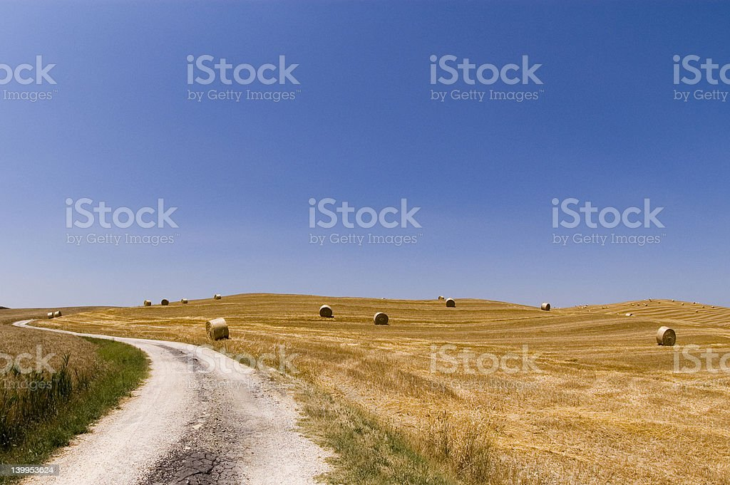 Tuscan landscape between hills royalty-free stock photo