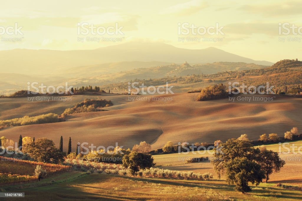 Tuscan landscape in the morning royalty-free stock photo