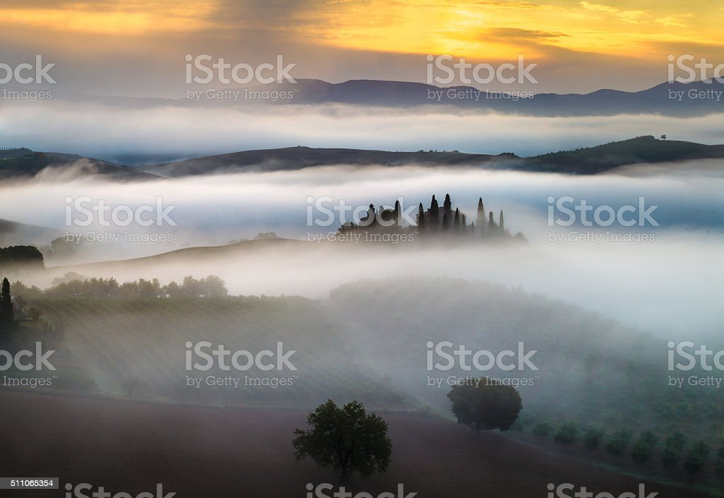 Tuscan landscape in the morning stock photo